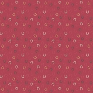 Lewis & Irene Farley Mount - 5572  - Horseshoes on Raspberrry Red - A226.2 - Cotton Fabric
